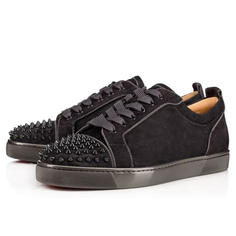 lyst christian louboutin louis junior spikes orlato flat suede sneakers in black for