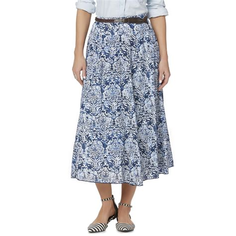 s a line midi skirt belt damask
