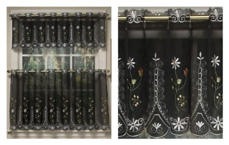 embroidered sheer kitchen curtain valance black