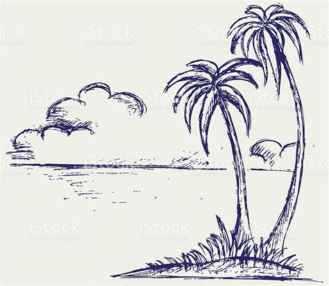 sketch of an island with palm trees and clouds in distance