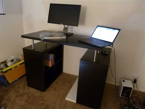 ikea standing desk with computer monitor dining room
