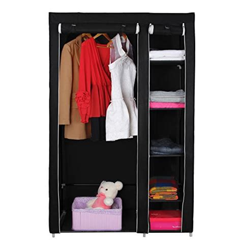 Black Clothes Closet Songmics 59 Quot Portable Clothes Closet Wardrobe Storage