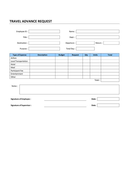 travel request form template word travel advance request