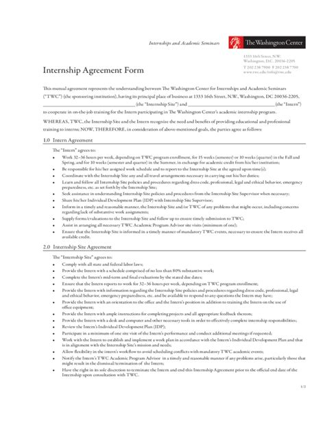 Unpaid Internship Agreement Template internship agreement form the washington center free