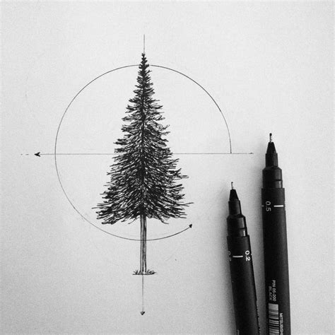geometric pine tree tattoo design