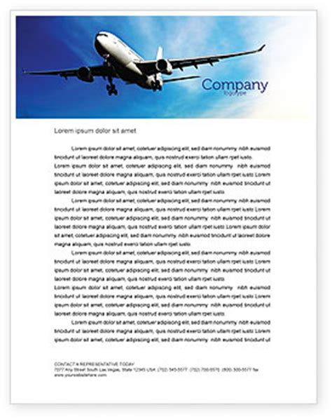 Advance Letter For Transportation Modern Plane Letterhead Template Layout For Microsoft Word Adobe Illustrator And Other Formats