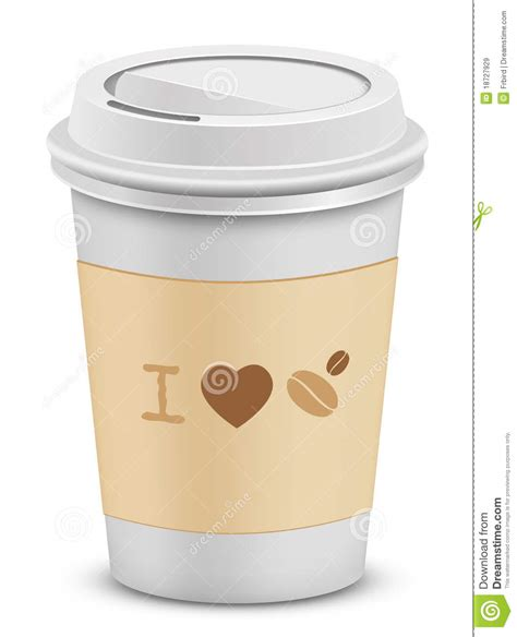 I Love Coffee. Plastic Coffee Cups With Lid Royalty Free Stock Images   Image: 18727929