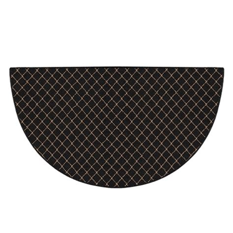 black hearth rug pictured is the 27 inch x 48 inch trellis half black hearth rug manufactured in america by