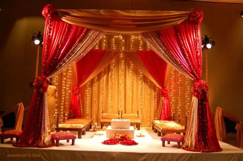 red gold mandap for hindu ceremony table decorations