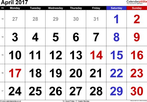 Calendar When Is Easter April 2017 Calendar Easter 2017 Calendar With Holidays