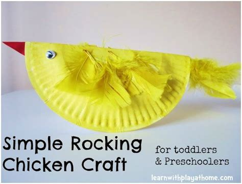 Paper Plate Chicken Craft - simple paper plate rocking chicken easter craft for
