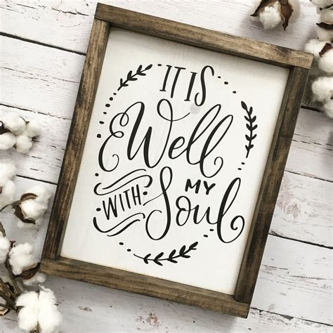 signs my is it is well with my soul framed wood sign coastal crafty