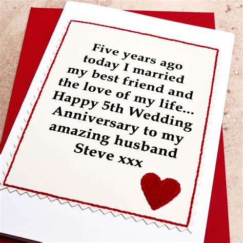 Wedding Anniversary Gift Wiki by 5th Wedding Anniversary Card Personalised 5th Wedding