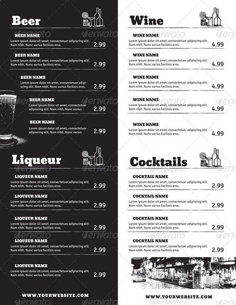 Free Drinks Menu Template Filename Port By Port Drinks Menu Template Free