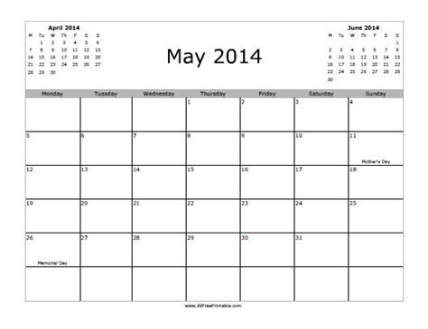 printable monthly calendar may 2014 may 2014 calendar free printable myfreeprintable com