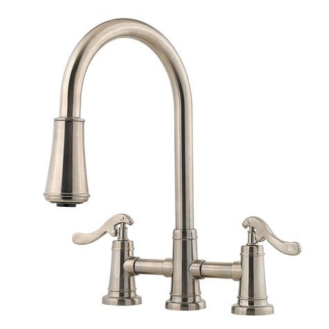 pfister faucets kitchen pfister ashfield double handle deck mounted kitchen faucet