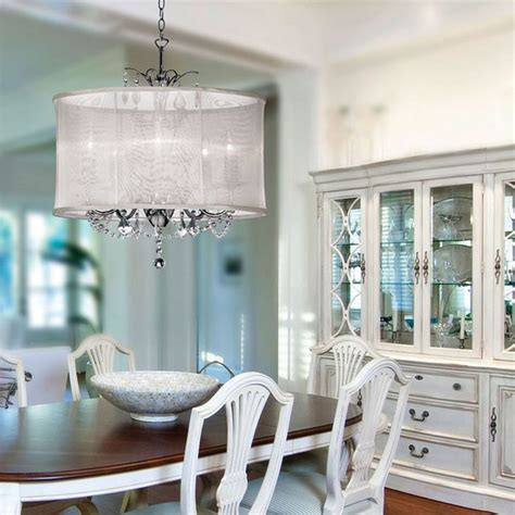new york drum shade chandelier dining room contemporary