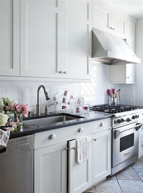white shaker cabinets transitional kitchen lilly
