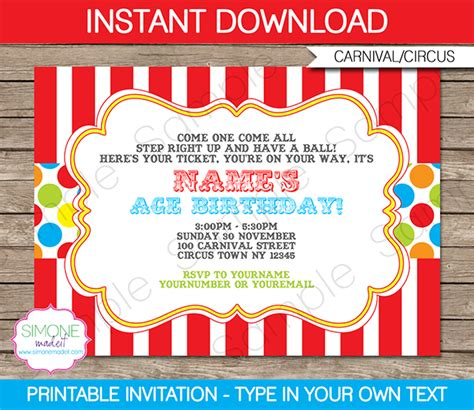 free printable circus party decorations carnival invitation template colorful carnival