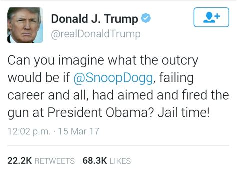 donald trump tweets trump threatens snoop dogg with jail time for making video