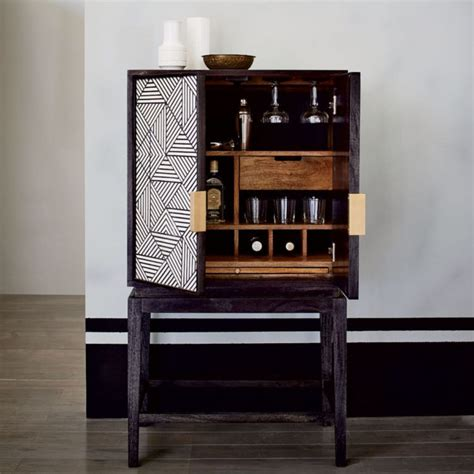 bar cabinet black and white inlaid drinks cabinet mad about the house