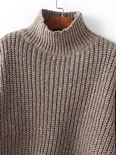 Mock Neck Drop Shoulder Top coffee mock neck drop shoulder dip hem sweater