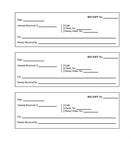 free printable receipt template word 26 blank receipt templates doc excel pdf vector eps