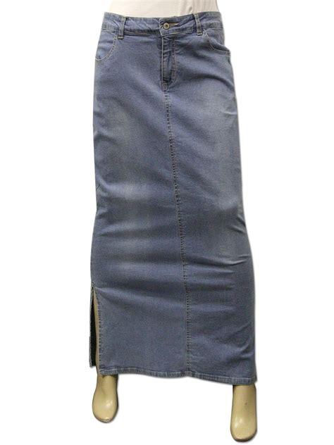 clove ankle length maxi stretch denim pencil skirt