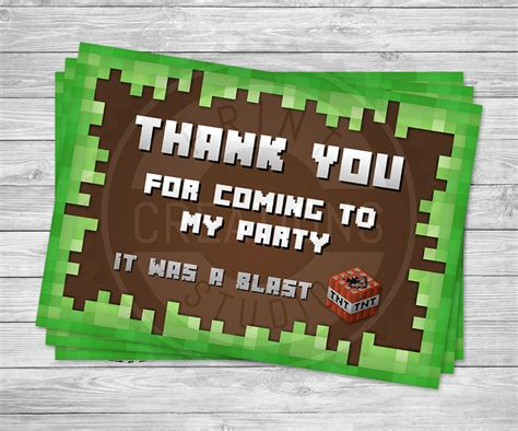 Minecraft Thank You Cards Printable Free