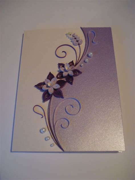 Paper Greeting Cards - quilled paper handmade greeting card with flowers in lilac