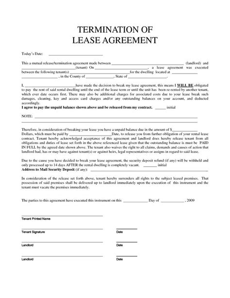 Termination Of Lease Agreement Letter Personal Property Rental Agreement Forms Property Rentals Direct Termination Of Lease