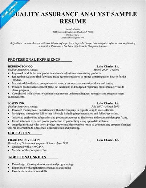 entry level quality assurance resume sles quality assurance analyst resume sle resumecompanion