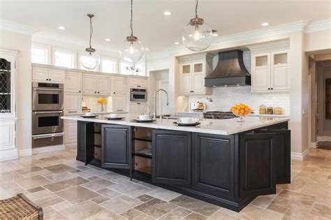 black island kitchen white glass arabesque backsplash tiles transitional