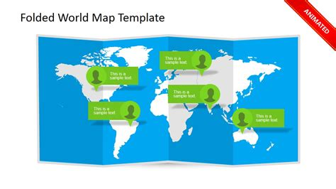 powerpoint world map template folded world map clipart for powerpoint slidemodel