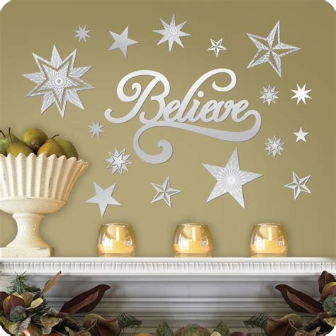 mirrored believe and stars wall decals contemporary