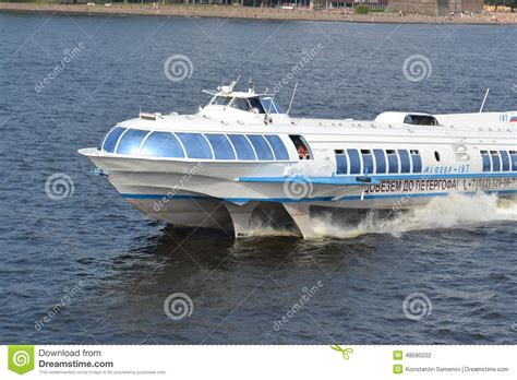 hydrofoil pleasure boat meteor hydrofoil boat in st petersburg editorial