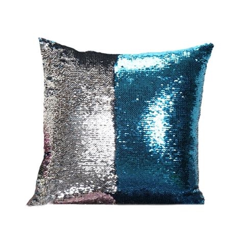 Ready Made Kitchen Islands mermaid pillow cover blue silver change color sequins