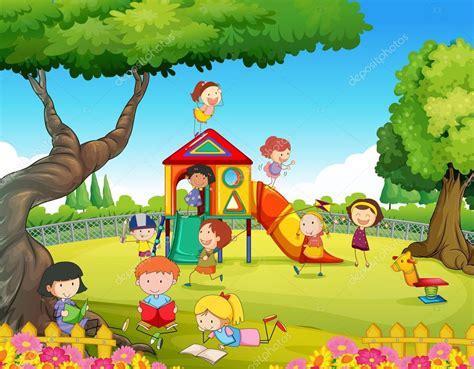 in the garden coloring book books crian 231 as brincando no playground vetor de stock