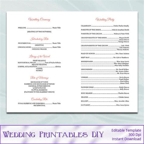 catholic wedding program template diy printable coral