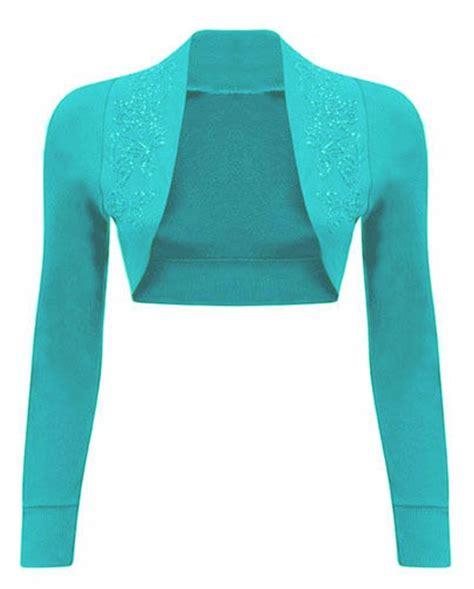 new aqua blue w bolero new sequin cropped bolero shrugs womens top