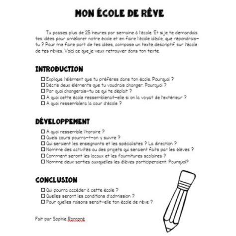 production layout en francais plan d un texte descriptif mon 233 cole de r 234 ve ecole