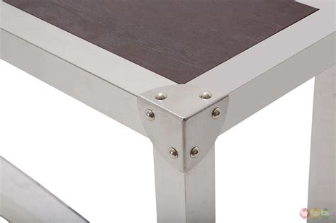 stainless steel sofa table salvatore stainless steel sofa table with wood top in