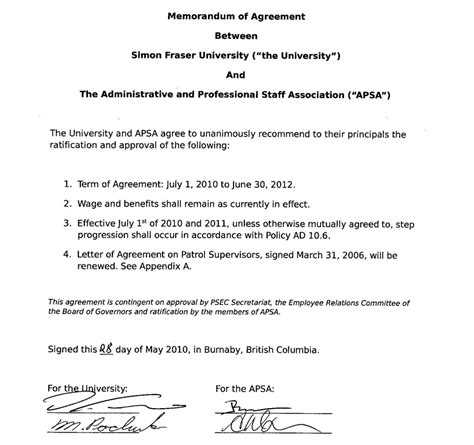 memorandum of agreement free printable documents