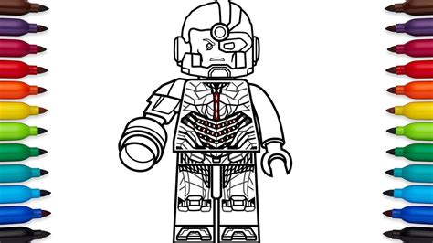 lego cyborg coloring page how to draw lego cyborg victor stone from dc comic s