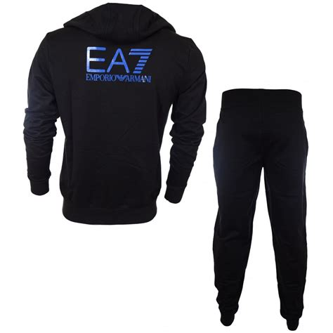 Paolo Moschino by Ea7 By Emporio Armani Hooded Cotton Zip Black Tracksuit