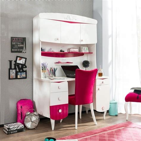 room white pink desk with hutch for room