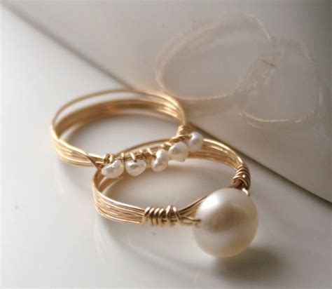 How To Make Handmade Rings With Wire - freshwater pearls wire wrapped stacking rings handmade