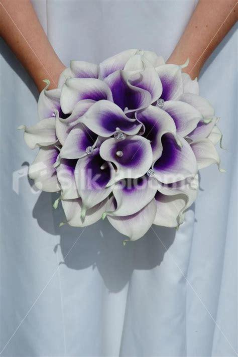 silk calla lily bouquets white with purple center