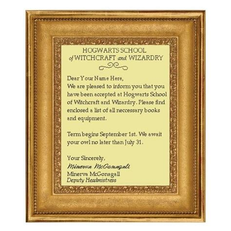 Hogwarts Acceptance Letter Cross Stitch Personalized Letter Of Acceptance To Hogwarts School Of Witchcraft And Wizardry Needle Craft