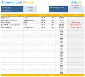 Travel Budget Planner Template Travel Budget Template Budget Calculator Dotxes